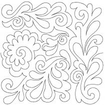 Feathers 4 Edge-To-Edge Embroidery Design End-to-End Quilt Block by JuJu e2e