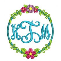 Circle Flower Wreaths Monogram Frames Machine Embroidery Designs by JuJu
