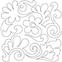 Flowers Feathers Swirls Edge-To-Edge Embroidery Design End-to-End Quilt Block Pattern by JuJu e2e