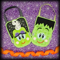 Halloween Treat Bags In The Hoop Designs by JuJu Frankenstein Bride of Frankenstein machine embroidery designs applique