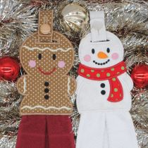Designs by JuJu In The Hoop Machine Embroidery Designs Gingerbread and Snowman Towel Hangers Toppers