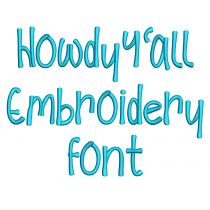 Howdy Y'all Embroidery Font
