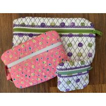 Quilted In The Hoop Zipper Bags Machine Embroidery Designs by JuJu