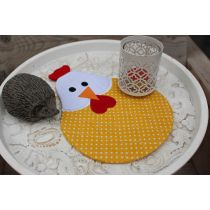 In The Hoop Chicken Mug Rug Designs by JuJu Machine Embroidery Designs