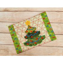 ITH Christmas Tree Mug Rug Digital Embroidery Machine Designs by JuJu