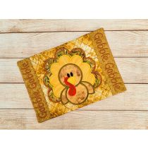 ITH Thanksgiving Turkey Mug Rug Digital Embroidery Machine Designs by JuJu