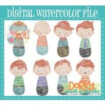 Man Red Hair Multipack Digital Watercolor PNG File