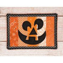 In The Hoop Pieced Pumpkin Mug Rug Machine Embroidery Designs by JuJu