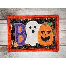 In The Hoop Boo Halloween Mug Rug Machine Embroidery Designs by JuJu