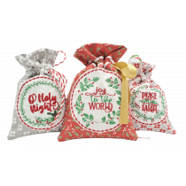 ITH Christmas Wreath Gift Bags 2 Digital Embroidery Machine Designs by JuJu