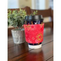 In The Hoop Coffee Cup Sleeve Velcro Closure 3 sizes Multiple Quilting Styles Designs by JuJu Machine Embroidery Designs