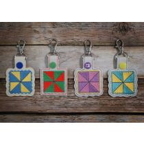 In The Hoop Snap Tab Key Fob Pinwheel Quilt Block Designs by JuJu Machine Embroidery Designs