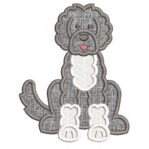 Free Portuguese Water Dog Applique Machine Embroidery Designs by JuJu