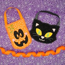 In the hoop Halloween Treat Bags Designs by JuJu Machine Embroidery Designs