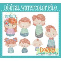 Red Head Family Member Multipack Digital Watercolor PNG File