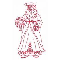 Old World Santas Redwork Machine Embroidery Designs by JuJu