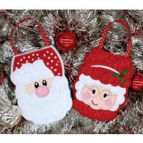 Designs by Juju In The Hoop Machine Embroidery Designs Santa and Mrs. Clause Christmas Treat Bags