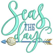 Beach Word Art 5 Seas The Day Machine Embroidery Designs by JuJu