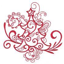 Swirly Christmas Redwork Machine Embroidery Designs by JuJu