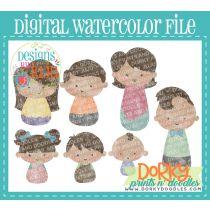 Nice Tan Family Member Multipack Digital Watercolor PNG File