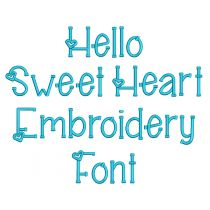 Hello Sweet Heart Embroidery Font