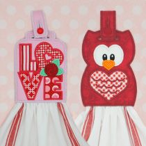 In The Hoop Valentine Love and Owl Towel Hangers and Toppers Designs by JuJu Machine Embroidery Designs