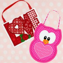In The Hoop Valentine Love and Owl Treat Bags Designs by JuJu Machine Embroidery Designs