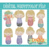 Woman Blonde Hair Multipack Digital Watercolor PNG File