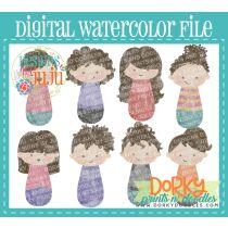 Woman Brown Hair Multipack Digital Watercolor PNG File