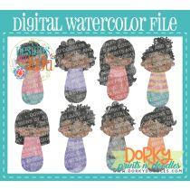 Woman Dark Complexion Multipack Digital Watercolor PNG File