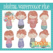 Woman Red Hair Multipack Digital Watercolor PNG File