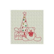 Christmas Teddy Bear Redwork