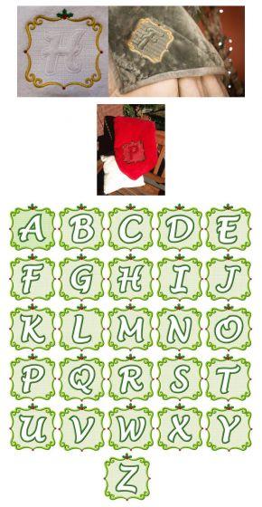 Embroidery Christmas Embossed Monogram Alphabet