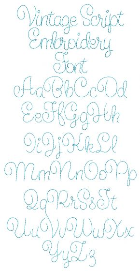 Vintage Script Embroidery Font Machine Embroidery Designs by JuJu