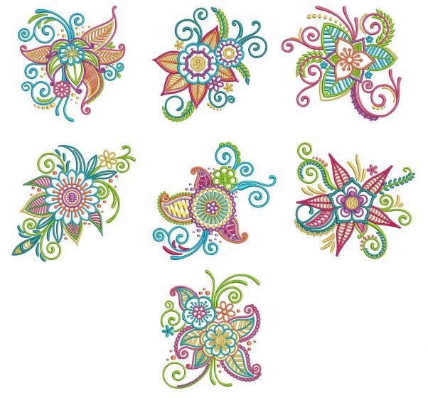 Mehndi Flowers Set 2 Machine Embroidery Designs by JuJu