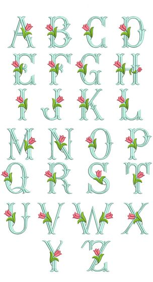 Tulip Monogram Machine Embroidery Designs by JuJu
