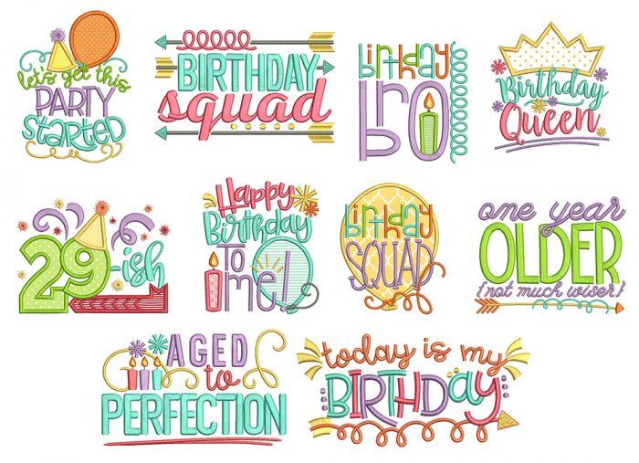 Birthday Bash Machine Embroidery Designs by JuJu