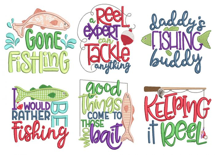 Fishing Word Art Machine Embroidery Designs By JuJu