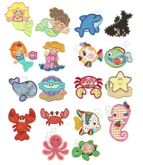Under the sea ocean crabs lobster and mermaid applique machine embroidery designs