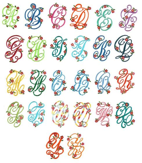 Spring floral monogram font machine embroidery designs