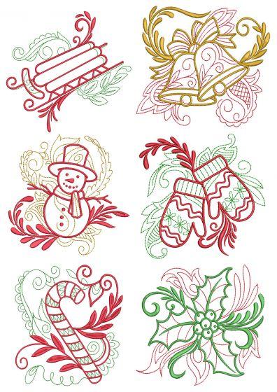 Elegant Christmas Motifs 3 Machine Embroidery Designs by JuJu
