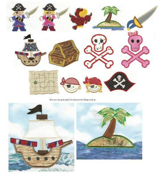 Cute applique pirates, parot, treasure map, ship and skull machine embroidery designs