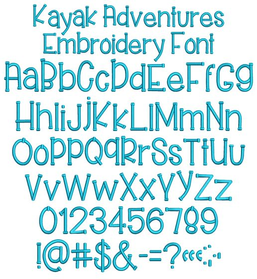 Kayak Adventures Embroidery Font
