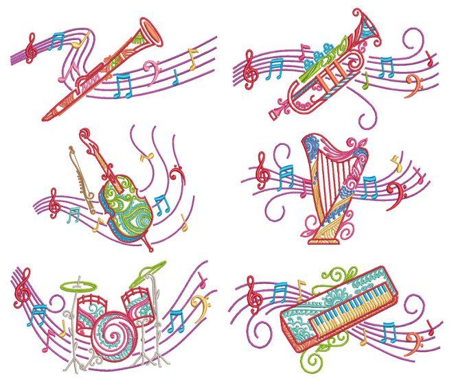 Mehndi Music 2 Machine Embroidery Designs By JuJu