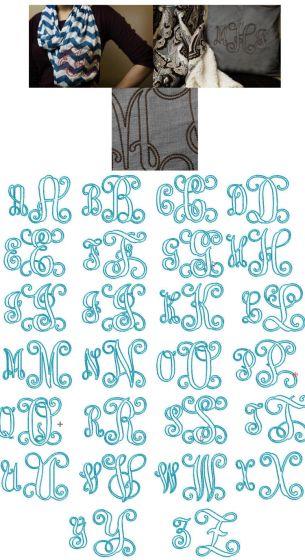 Interlocking vine ribbon machine embroidery monogram