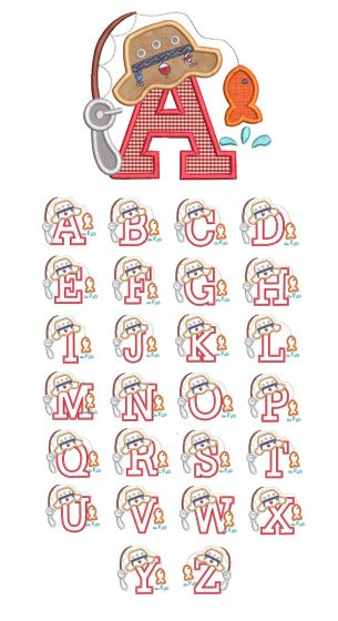 Designs by JuJu Machine Embroidery Designs Fishing Applique Alphabet