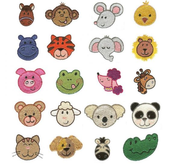 Mini cute animal faces itty bitty filled machine embroidery designs