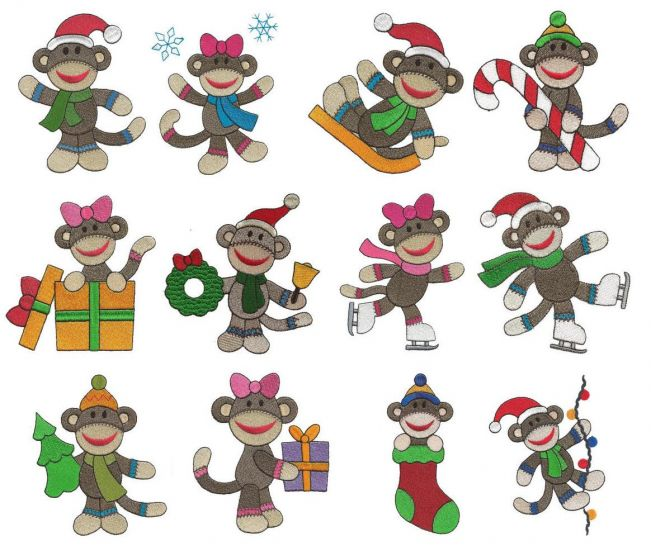 Christmas sock monkeys filled machine embroidery designs
