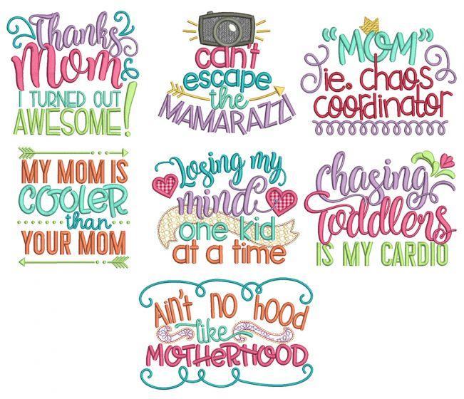 Mom's Life Word Art  Machine Embroidery Designs By JuJu