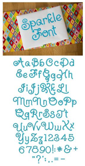 Sparkle Embroidery Font Designs by JuJu Machine Embroidery Designs